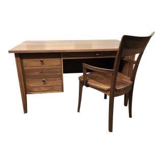Custom Walnut Desk+Chair by Vermont Wood Studio For Sale