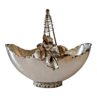 Vintage Italian Silver-Plate Metal Basket with Hand-Made Metal Orchids For Sale