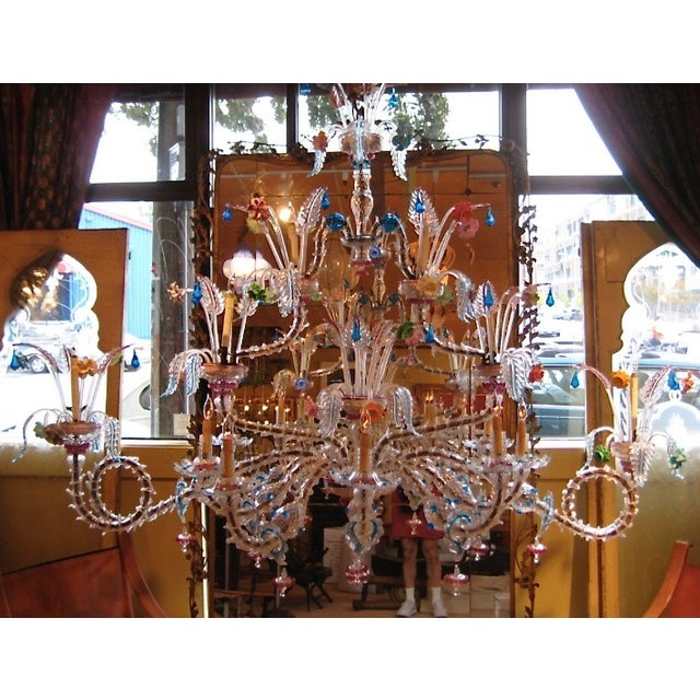 A phenomenally scaled Venetian glass chandelier in the Rezzonico style fit for a palace.