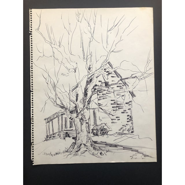 Realism Large Rustic Drawing by Fabian 1970 For Sale - Image 3 of 3
