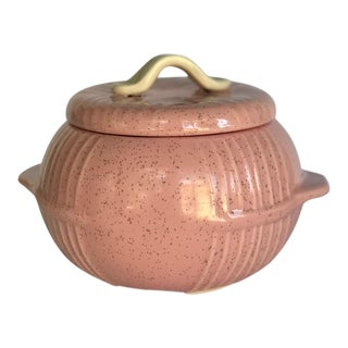 Mid 20th CenturyRetro Ceramic Pink Hoenig Bowl With Lid For Sale
