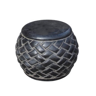 Black Gray Stone Carved Round Simple Relief Pattern Stand For Sale