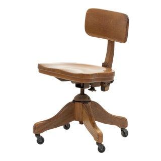 Vintage Wooden Desk Chair For Sale