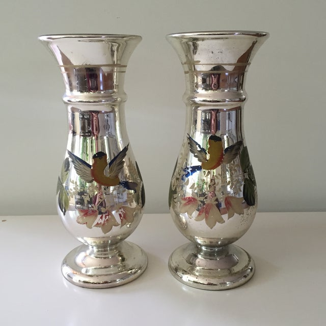 Antique Mercury Glass Vases - A Pair - Image 2 of 5