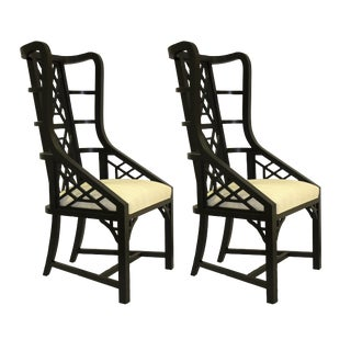 Taylor Burke Home Ebony Finish Fretwork Chairs - a Pair