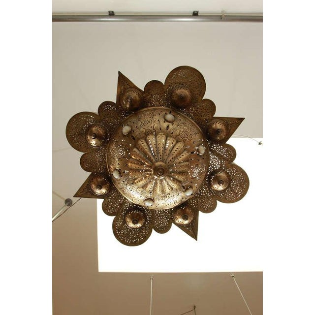 Gold Large Moroccan Moorish Brass Chandelier For Sale - Image 8 of 13