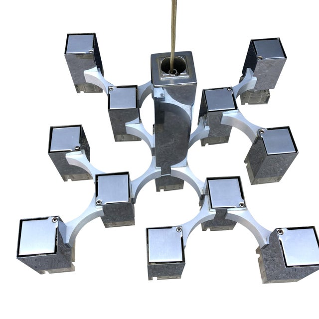 1970s 1970s Gaetano Sciolari Cubic Chandelier for Lightolier For Sale - Image 5 of 7
