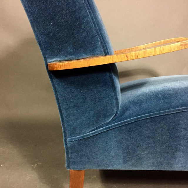 Fabric Late 1930s Danish Oak Armchair, New Mohair Upholstery For Sale - Image 7 of 10