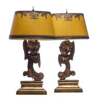 Vintage Winged Cherub Carved Walnut Lamps - a Pair For Sale