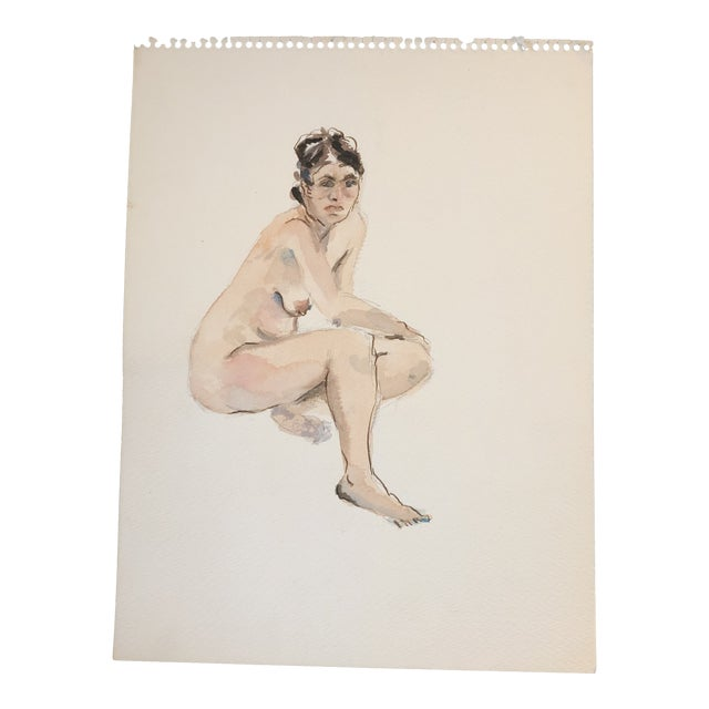 Original Vintage Female Nude Watercolor Painting 1970's For Sale