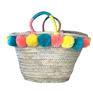 Moroccan Pompom Straw Basket For Sale