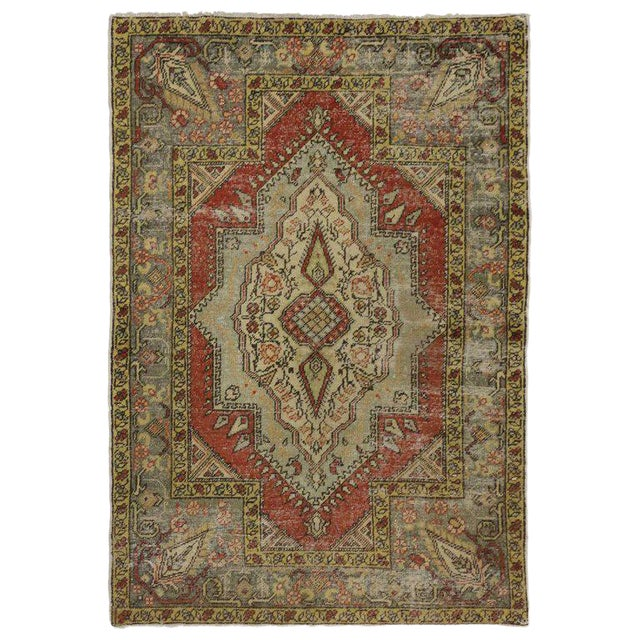 Vintage Turkish Worn-In Distressed Oushak Accent Rug - 4'2 X 6'00 For Sale