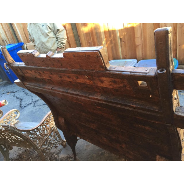 India Teak Wood & Iron Bench For Sale - Image 5 of 11