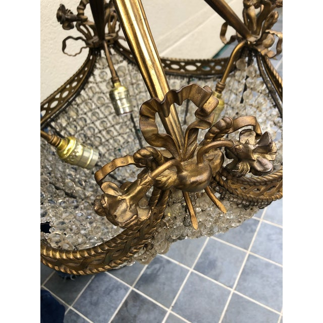 Metal Bronze and Beaded Crystal Louis XV Style Chandelier For Sale - Image 7 of 10
