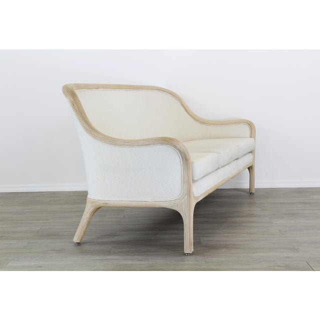 1970s Vintage Cream Reeded Bamboo Sofa, Patio Sofa For Sale - Image 5 of 6