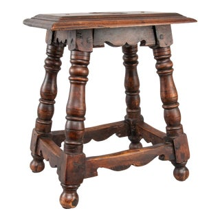Antique English Oak Joint Stool For Sale