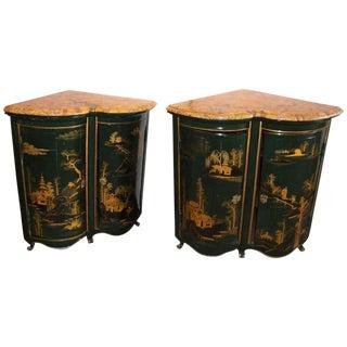 Maison Jansen Louis XV Style Green & Gilt Asian Encoignures - A Pair For Sale
