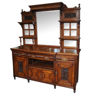 Large English Pollard Oak Antique Mirror Back Server or Buffet For Sale