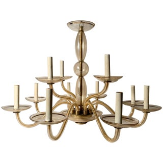 Vintage Bohemian Crystal Murano Chandelier For Sale