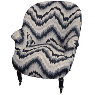 Gray Chevron Napoleon-Style Chair For Sale