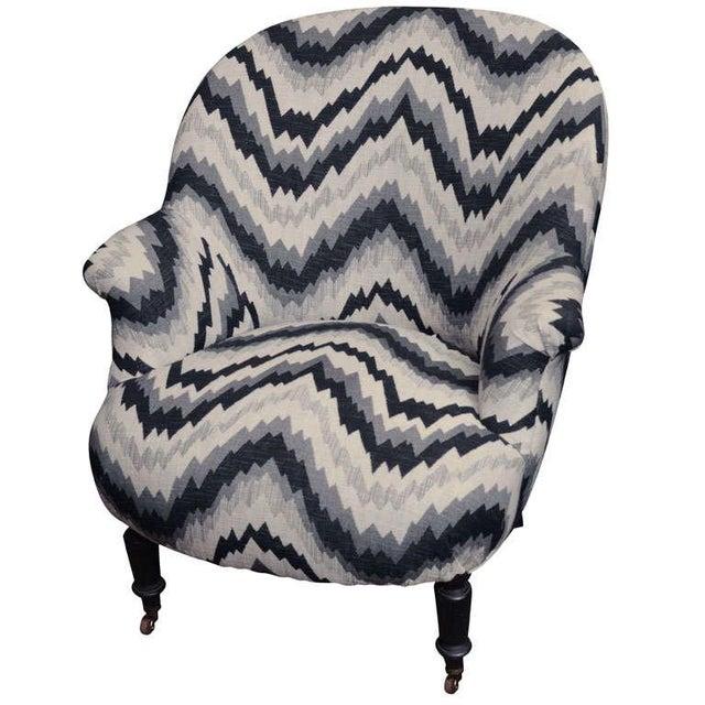 Gray Chevron Napoleon-Style Chair - Image 1 of 8