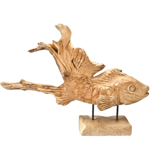 Hand-Carved Driftwood Fish On Stand - Image 3 of 5