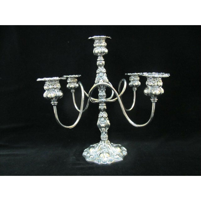 Early 20th Century Art Nouveau Silverplate Spiraling 4 Arm Candelabra Candlestick Holder For Sale - Image 10 of 10