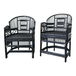 Black Pavillion Chippendale Chairs - a Pair