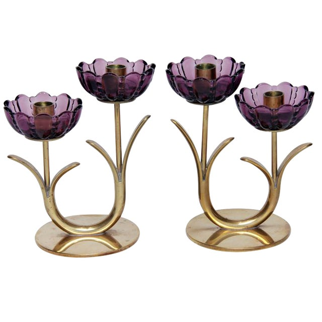 1940s Swedish Modern Brass and Glass Flower Candlesticks- a Pair For Sale
