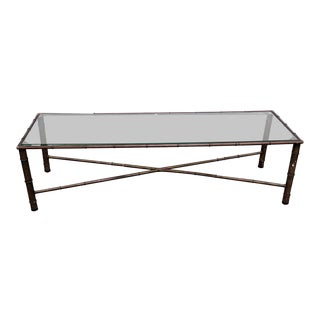 20th Century Regency Faux Bamboo Coffee Table For Sale