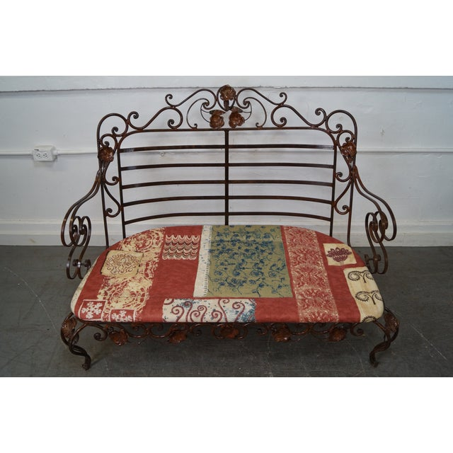 Ornate Wrought Iron Rococo Style Settee With Cushions For Sale - Image 7 of 10