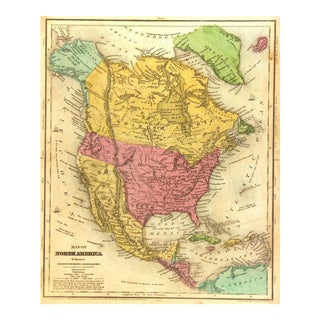 1844 Vintage America & Texas Republic Map