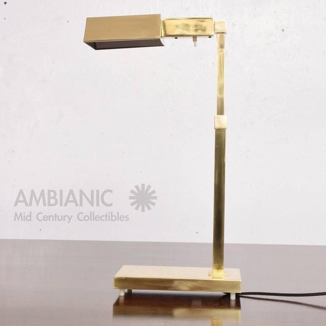 For your consideration a vintage table or desk lamp with brass shade (adjustable) Attributed to Casella, USA, circa 1970s....