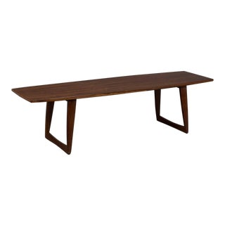 Large Danish Rosewood Surfboard Coffee Table With Splayed Legs