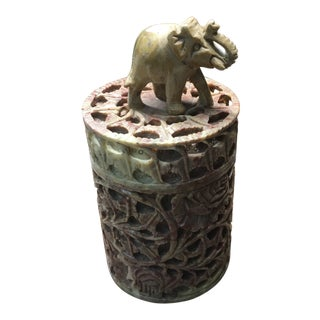 Vintage Soapstone StashBox With Elephant on Lid For Sale