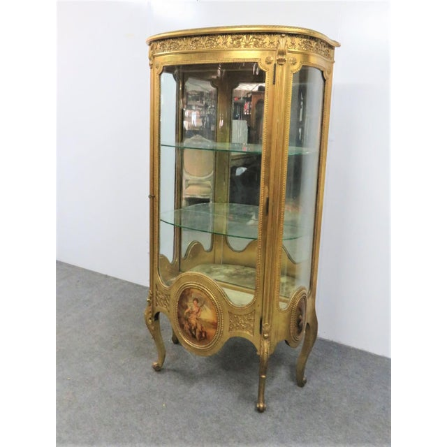 French Vernis MArtin style curio cabinet ,gold gilt with 3 hand painted panels, bow glass door and sides, 2 glass shelves,...
