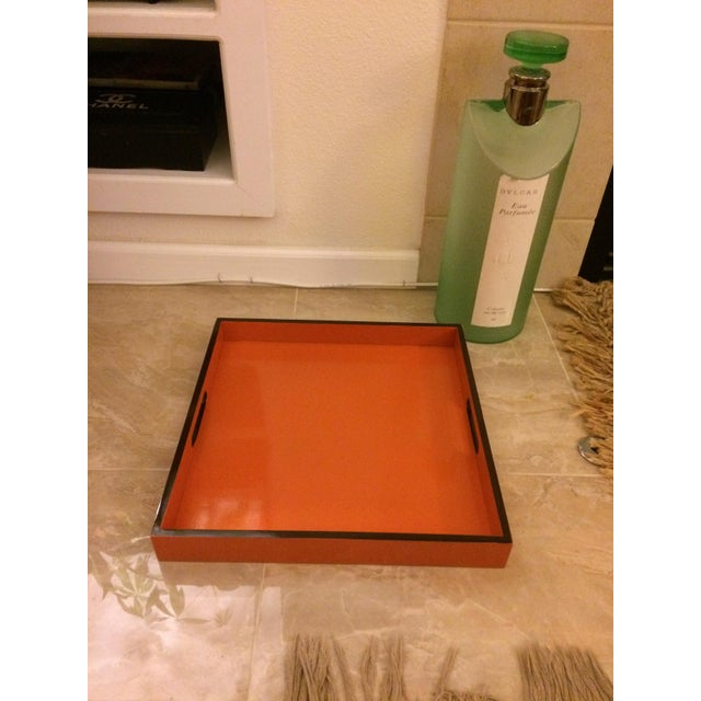 Art Deco Mid-Century Modern Hermès Inspired Orange Lacquer Tray For Sale - Image 3 of 11