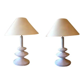 Iconic Pair of French Plaster Lamps by Jacques Grange for Yves Saint Laurent For Sale