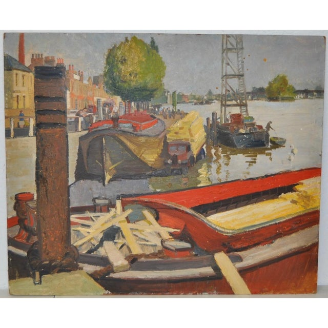 Aileen Rose Dent (Australia, 1890-1979) original oil painting c.1950. Fine oil painting of docked boats on the waterway....