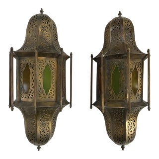 1980s Vintage Brass Moroccan Wall Sconces with Colored Glass - a Pair For Sale