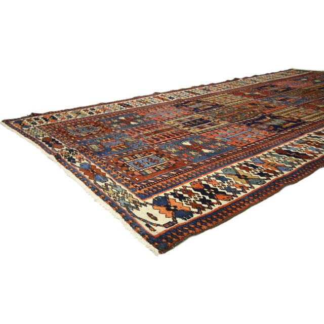 75279 antique bakhtiari area rug with four seasons garden design. Rich jewel tones integrated with a rich patina, this...