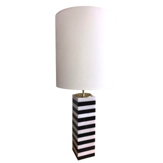 Square Black and White Striped Rectangular Marble Table Lamp With Shade For Sale