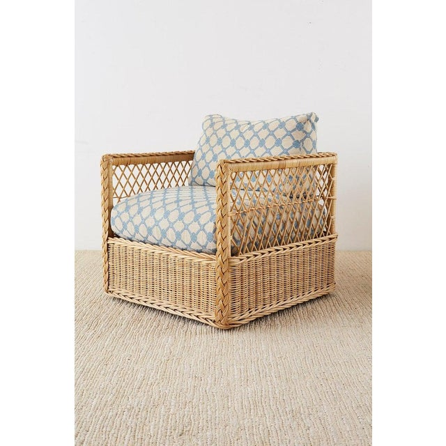 Late 20th Century Pair of McGuire Rattan Wicker Lounge Chairs With Ottoman For Sale - Image 5 of 13