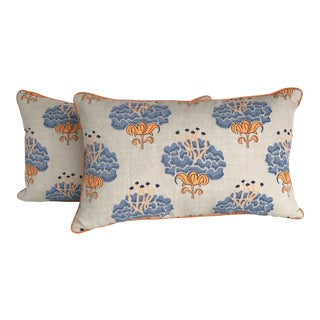 Katie Ridder Peony Blue Neon Pillows - A Pair