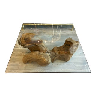 Vintage Glass Coffee Table With Organic Wood Base For Sale