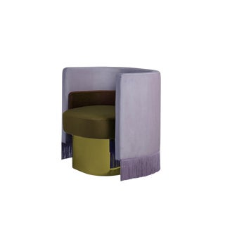 New Purple Mambo Armchair in Velvet & Chrome by Masquespacio & Houtique For Sale
