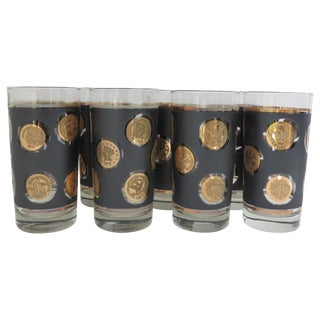 Midcentury Currency Barware Glasses - Set of 8 For Sale