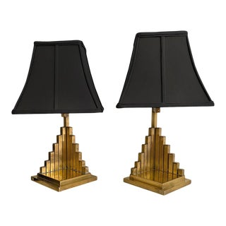 """1950s French """"Pyramid"""" Brass Lamps - a Pair"""