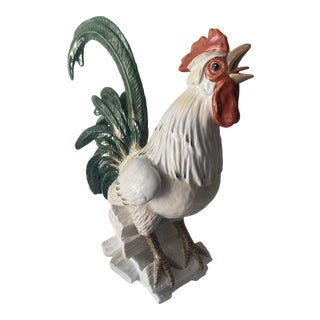 Vintage Mid 20th Century Porcelain Crowing Rooster in the Style of Meissen For Sale