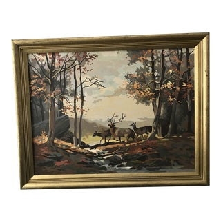 "Large ""Deer in Fall Forest"" Painting by Numbers For Sale"